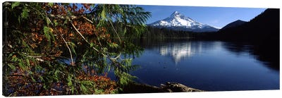 Reflection of a mountain in a lake, Mt Hood, Lost Lake, Mt. Hood National Forest, Hood River County, Oregon, USA Canvas Art Print
