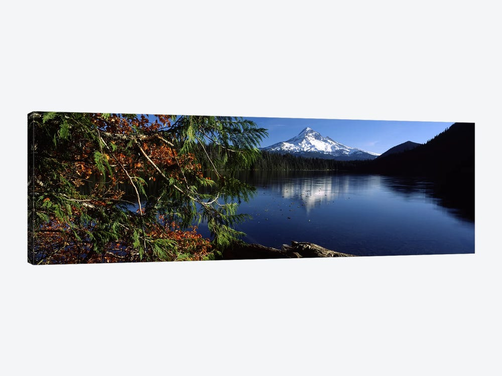 Reflection of a mountain in a lake, Mt Hood, Lost Lake, Mt. Hood National Forest, Hood River County, Oregon, USA by Panoramic Images 1-piece Canvas Art Print