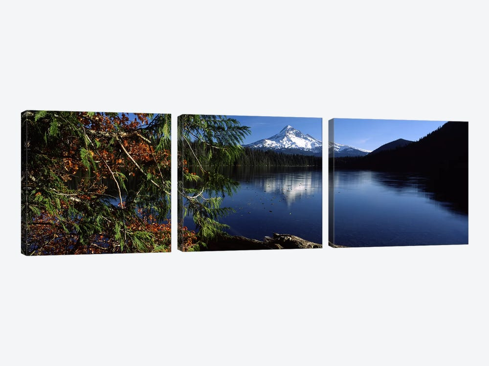 Reflection of a mountain in a lake, Mt Hood, Lost Lake, Mt. Hood National Forest, Hood River County, Oregon, USA by Panoramic Images 3-piece Canvas Art Print