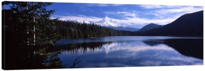 Reflection of clouds in waterMt Hood, Lost Lake, Mt. Hood National Forest, Hood River County, Oregon, USA Canvas Art Print