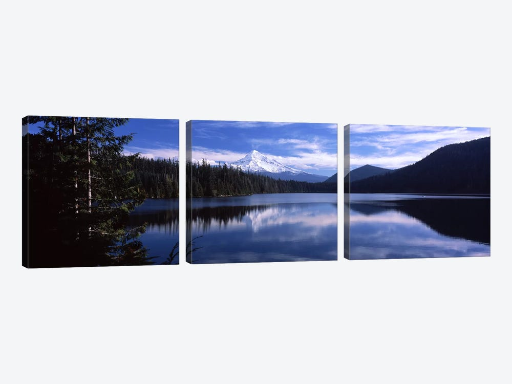 Reflection of clouds in waterMt Hood, Lost Lake, Mt. Hood National Forest, Hood River County, Oregon, USA by Panoramic Images 3-piece Art Print
