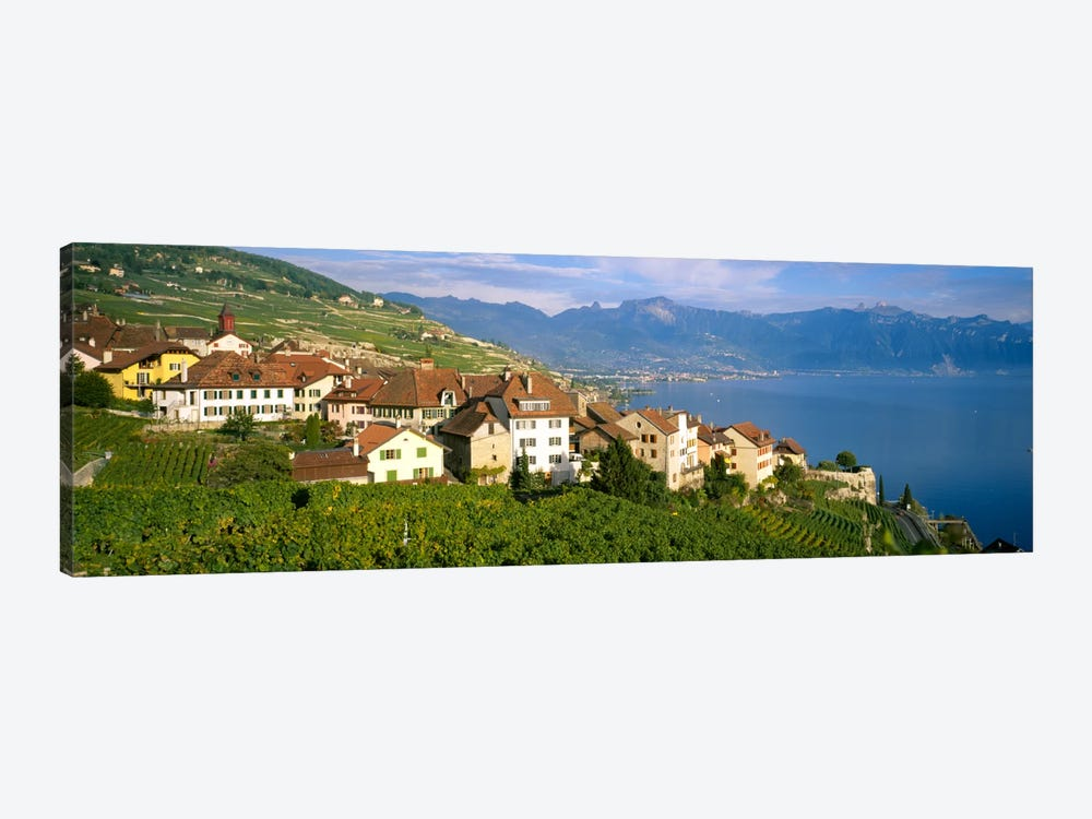 Village Rivaz between Vineyards & Mts. Lake Geneva Switzerland by Panoramic Images 1-piece Canvas Artwork