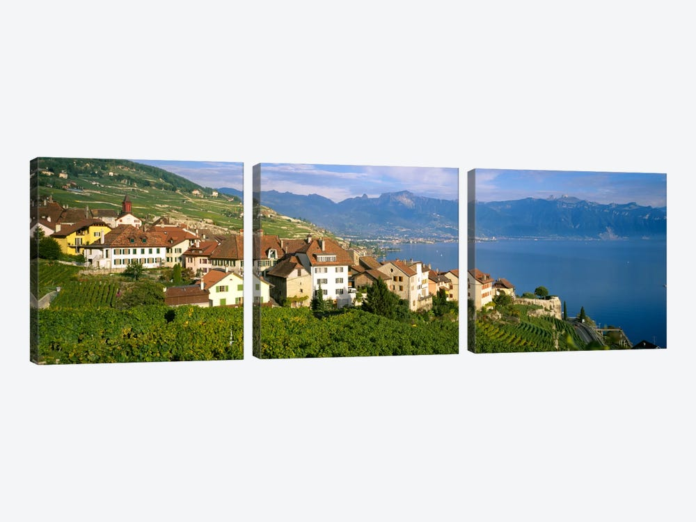 Village Rivaz between Vineyards & Mts. Lake Geneva Switzerland by Panoramic Images 3-piece Canvas Wall Art