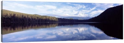 Reflection of clouds in a lake, Mt Hood viewed from Lost Lake, Mt. Hood National Forest, Hood River County, Oregon, USA Canvas Art Print