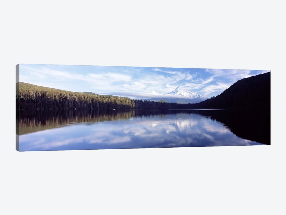 Reflection of clouds in a lake, Mt Hood viewed from Lost Lake, Mt. Hood National Forest, Hood River County, Oregon, USA by Panoramic Images 1-piece Canvas Print