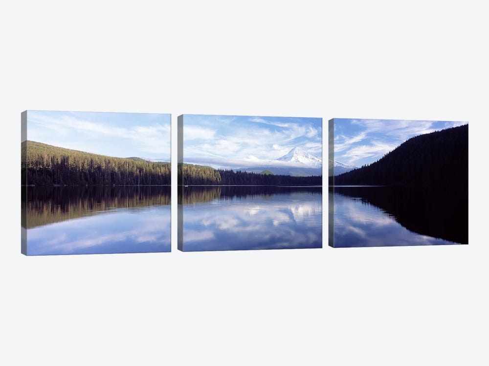 Reflection of clouds in a lake, Mt Hood viewed from Lost Lake, Mt. Hood National Forest, Hood River County, Oregon, USA by Panoramic Images 3-piece Art Print