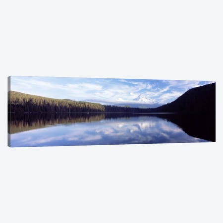 Reflection of clouds in a lake, Mt Hood viewed from Lost Lake, Mt. Hood National Forest, Hood River County, Oregon, USA Canvas Print #PIM6670} by Panoramic Images Canvas Art Print