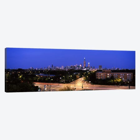 Buildings lit up at dusk, Chicago, Illinois, USA #3 Canvas Print #PIM6673} by Panoramic Images Canvas Art Print