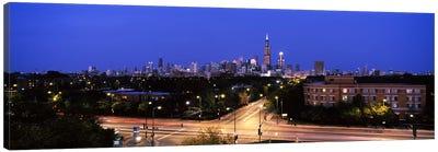 Buildings lit up at dusk, Chicago, Illinois, USA #3 Canvas Print #PIM6673