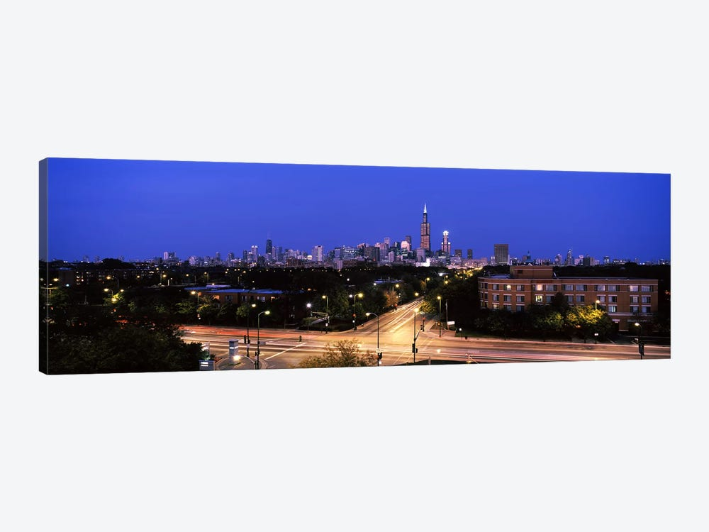 Buildings lit up at dusk, Chicago, Illinois, USA #3 by Panoramic Images 1-piece Canvas Artwork