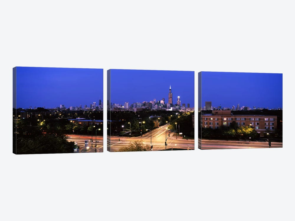 Buildings lit up at dusk, Chicago, Illinois, USA #3 by Panoramic Images 3-piece Canvas Wall Art