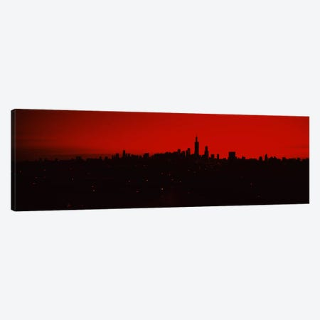 Silhouette of buildings at sunrise, Chicago, Illinois, USA Canvas Print #PIM6674} by Panoramic Images Canvas Artwork