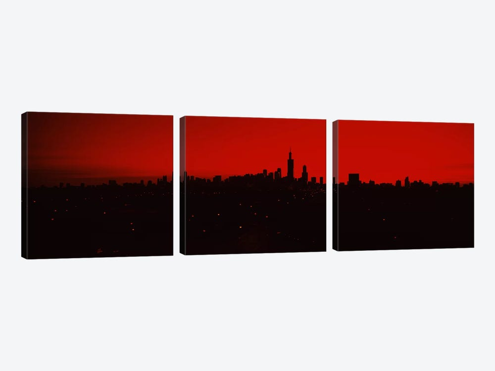 Silhouette of buildings at sunrise, Chicago, Illinois, USA by Panoramic Images 3-piece Canvas Print