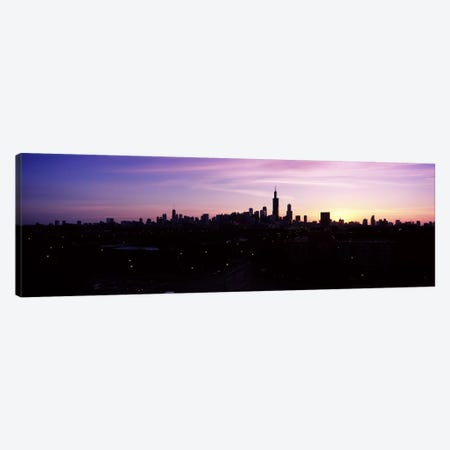 Silhouette of buildings at sunrise, Chicago, Illinois, USA #2 Canvas Print #PIM6675} by Panoramic Images Canvas Artwork