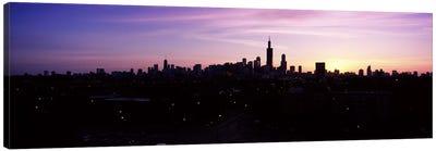 Silhouette of buildings at sunrise, Chicago, Illinois, USA #2 Canvas Print #PIM6675