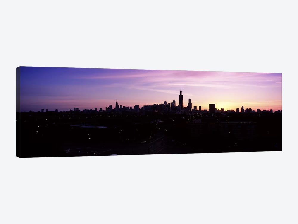 Silhouette of buildings at sunrise, Chicago, Illinois, USA #2 by Panoramic Images 1-piece Canvas Artwork