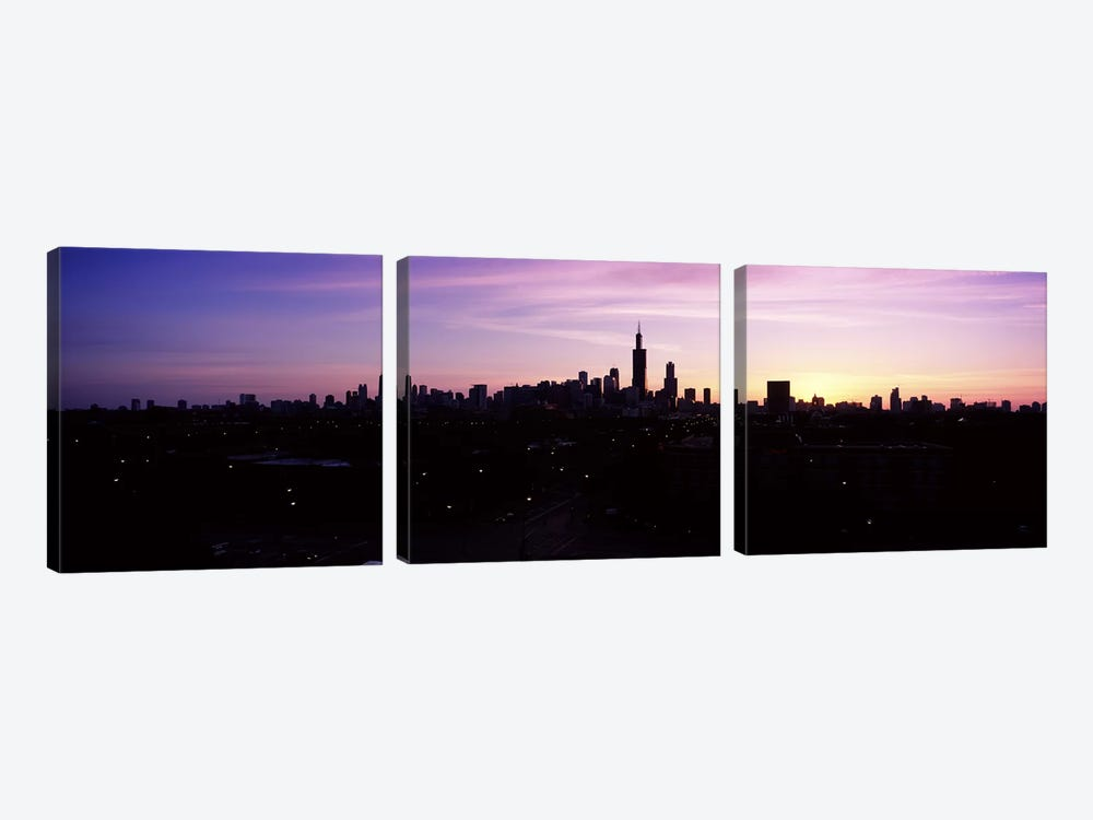 Silhouette of buildings at sunrise, Chicago, Illinois, USA #2 by Panoramic Images 3-piece Canvas Artwork