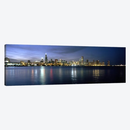 Downtown Skyline At Night, Chicago, Cook County, Illinois, USA Canvas Print #PIM6676} by Panoramic Images Canvas Art
