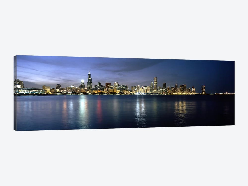 Downtown Skyline At Night, Chicago, Cook County, Illinois, USA by Panoramic Images 1-piece Art Print