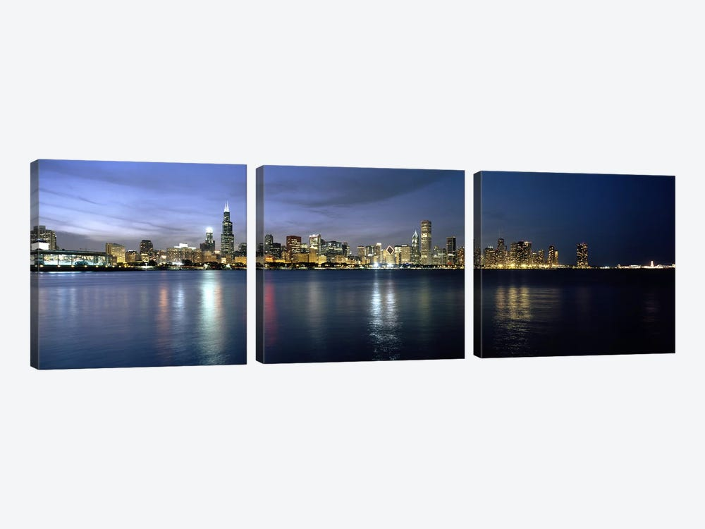 Downtown Skyline At Night, Chicago, Cook County, Illinois, USA by Panoramic Images 3-piece Canvas Print