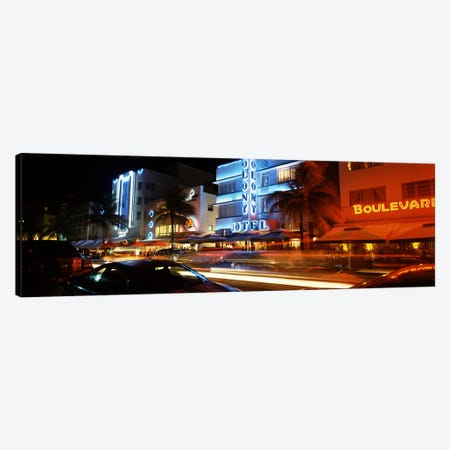 Buildings at the roadside, Ocean Drive, South Beach, Miami Beach, Florida, USA Canvas Print #PIM6677} by Panoramic Images Canvas Artwork