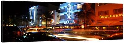 Buildings at the roadside, Ocean Drive, South Beach, Miami Beach, Florida, USA Canvas Print #PIM6677