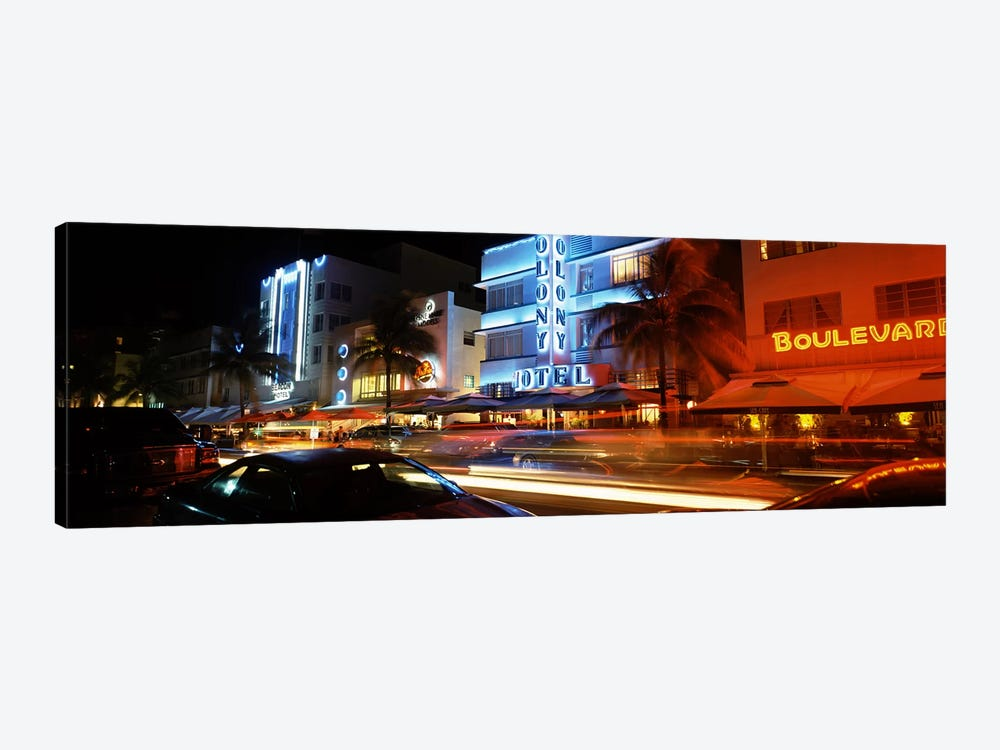 Buildings at the roadside, Ocean Drive, South Beach, Miami Beach, Florida, USA by Panoramic Images 1-piece Canvas Artwork