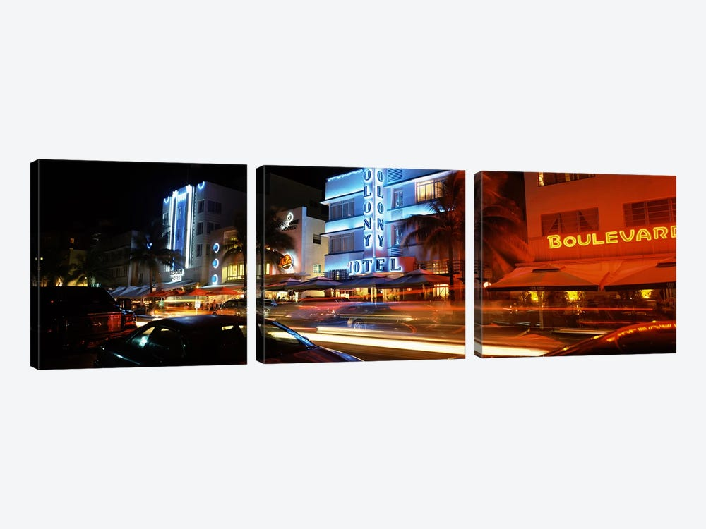 Buildings at the roadside, Ocean Drive, South Beach, Miami Beach, Florida, USA by Panoramic Images 3-piece Canvas Wall Art