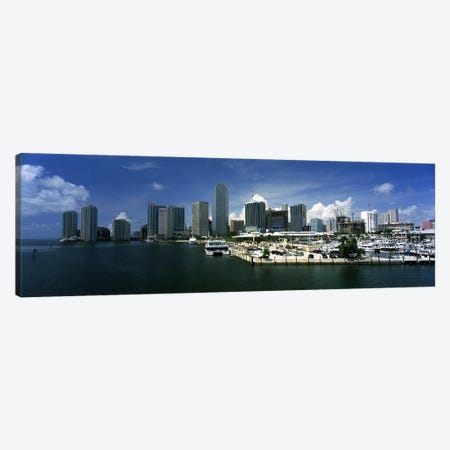 Skyscrapers at the waterfront viewed from Biscayne Bay, Ocean Drive, South Beach, Miami Beach, Florida, USA Canvas Print #PIM6678} by Panoramic Images Canvas Print