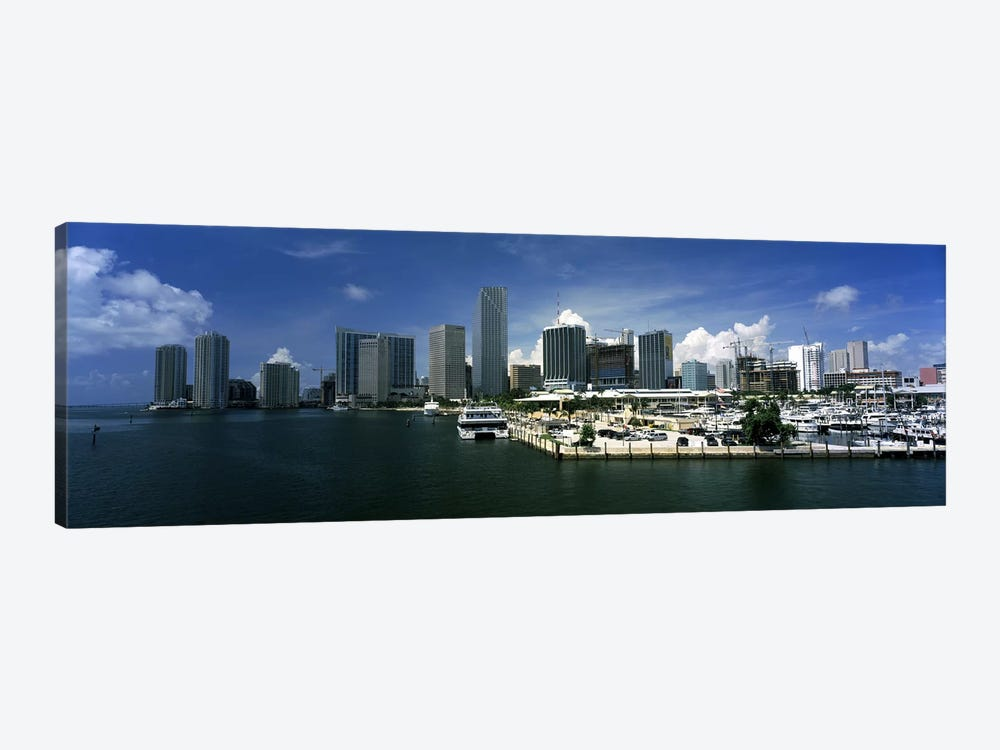 Skyscrapers at the waterfront viewed from Biscayne Bay, Ocean Drive, South Beach, Miami Beach, Florida, USA by Panoramic Images 1-piece Canvas Art Print