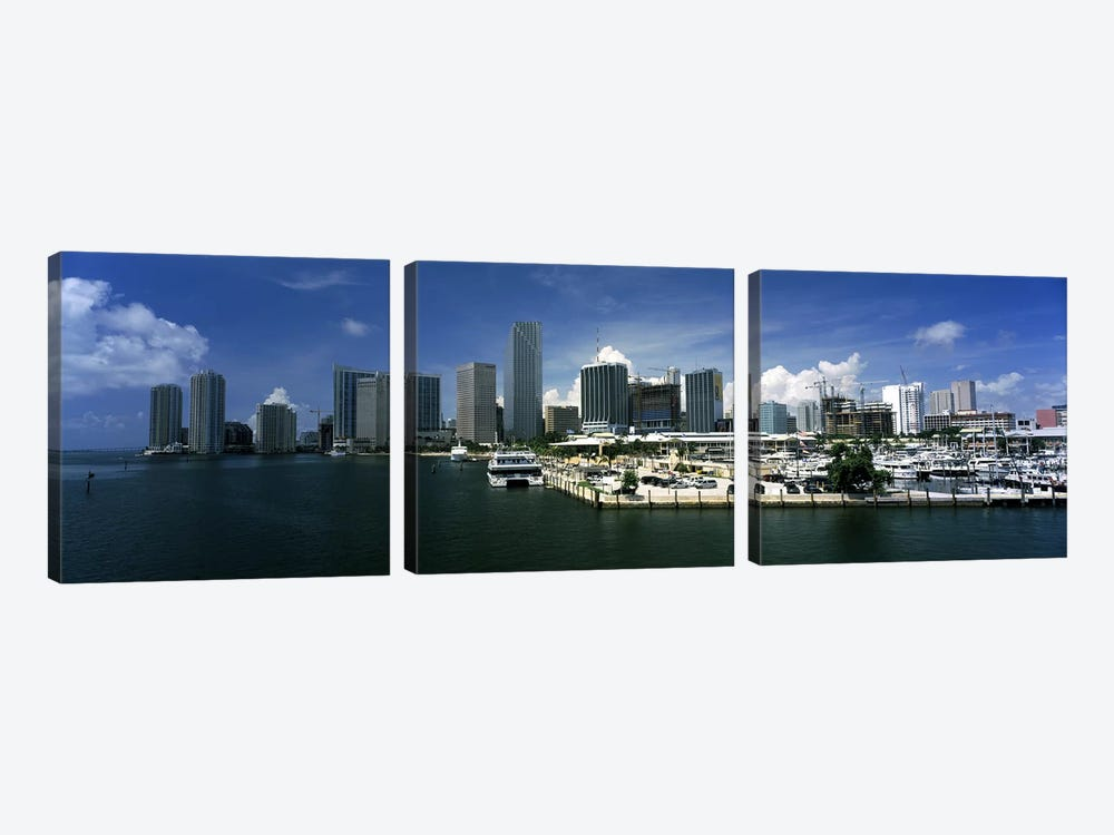 Skyscrapers at the waterfront viewed from Biscayne Bay, Ocean Drive, South Beach, Miami Beach, Florida, USA by Panoramic Images 3-piece Canvas Art Print