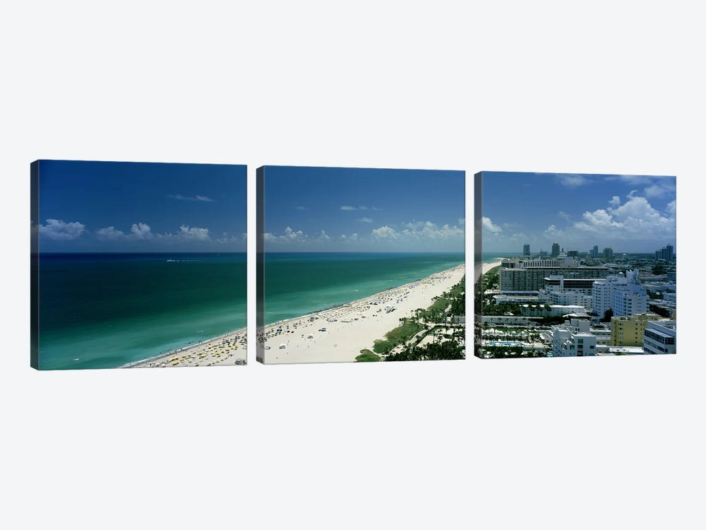 City at the beachfront, South Beach, Miami Beach, Florida, USA by Panoramic Images 3-piece Canvas Artwork