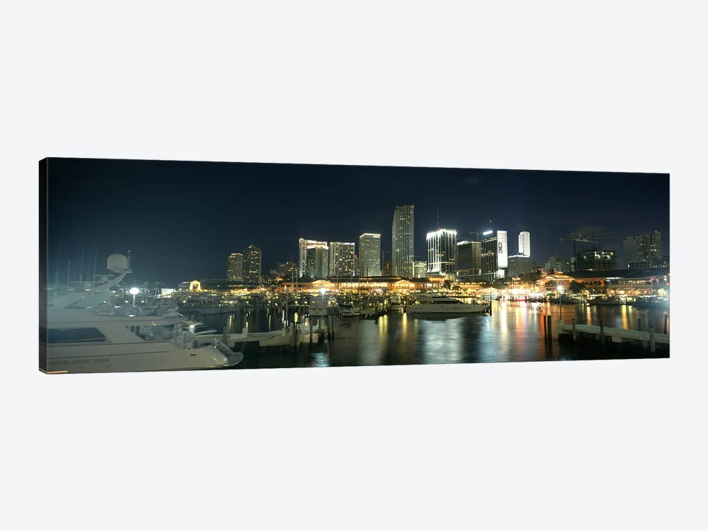 Boats at a harbor with buildings in the background, Miami Yacht Basin, Miami, Florida, USA by Panoramic Images 1-piece Canvas Print