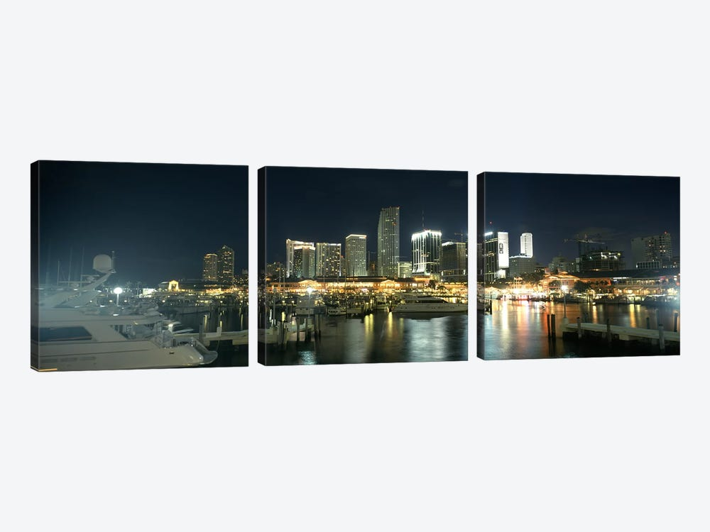 Boats at a harbor with buildings in the background, Miami Yacht Basin, Miami, Florida, USA by Panoramic Images 3-piece Canvas Print