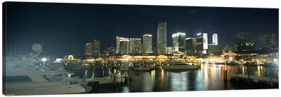 Boats at a harbor with buildings in the background, Miami Yacht Basin, Miami, Florida, USA Canvas Art Print
