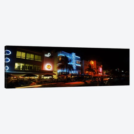 Buildings at the roadside, Ocean Drive, South Beach, Miami Beach, Florida, USA #2 Canvas Print #PIM6682} by Panoramic Images Canvas Art