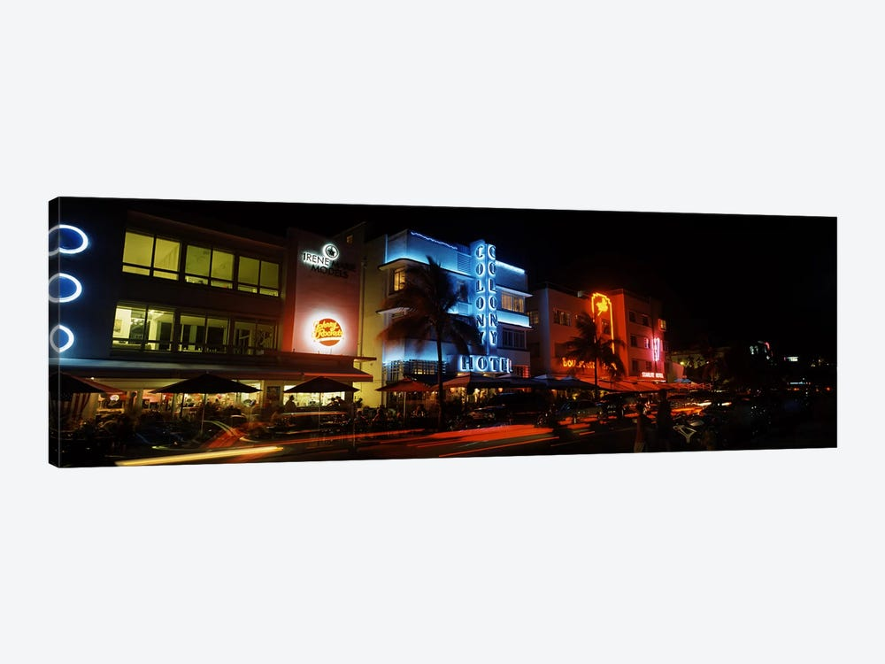 Buildings at the roadside, Ocean Drive, South Beach, Miami Beach, Florida, USA #2 by Panoramic Images 1-piece Canvas Wall Art