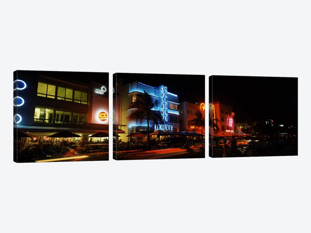 Buildings at the roadside, Ocean Drive, South Beach, Miami Beach, Florida, USA #2 by Panoramic Images 3-piece Canvas Art