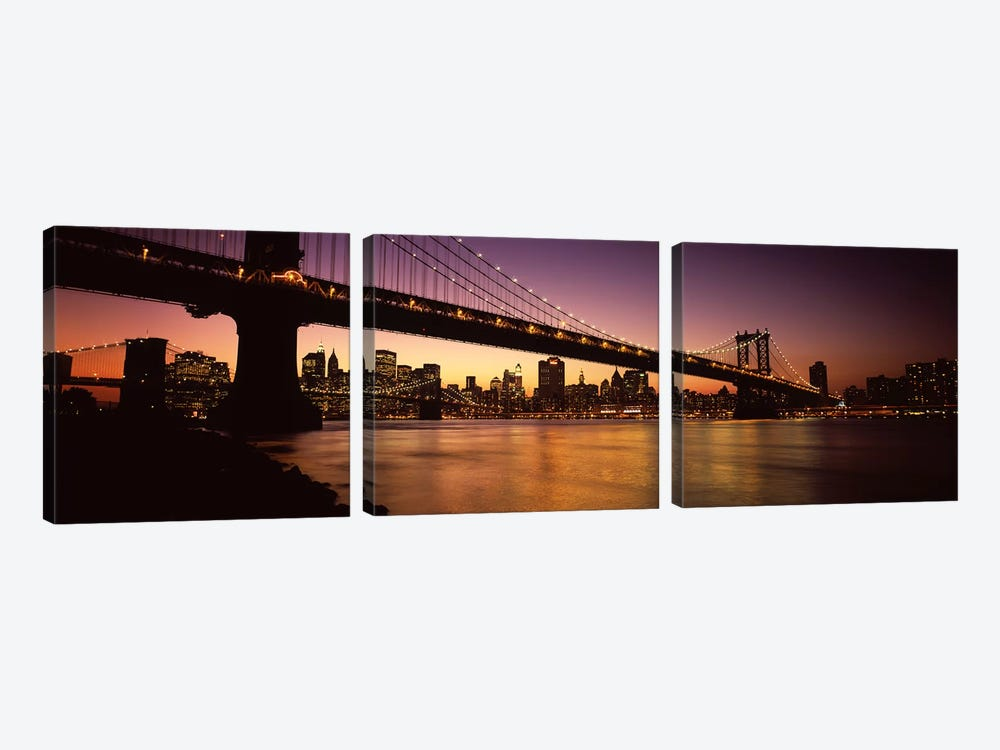 Bridge across the riverManhattan Bridge, Lower Manhattan, New York City, New York State, USA by Panoramic Images 3-piece Canvas Artwork
