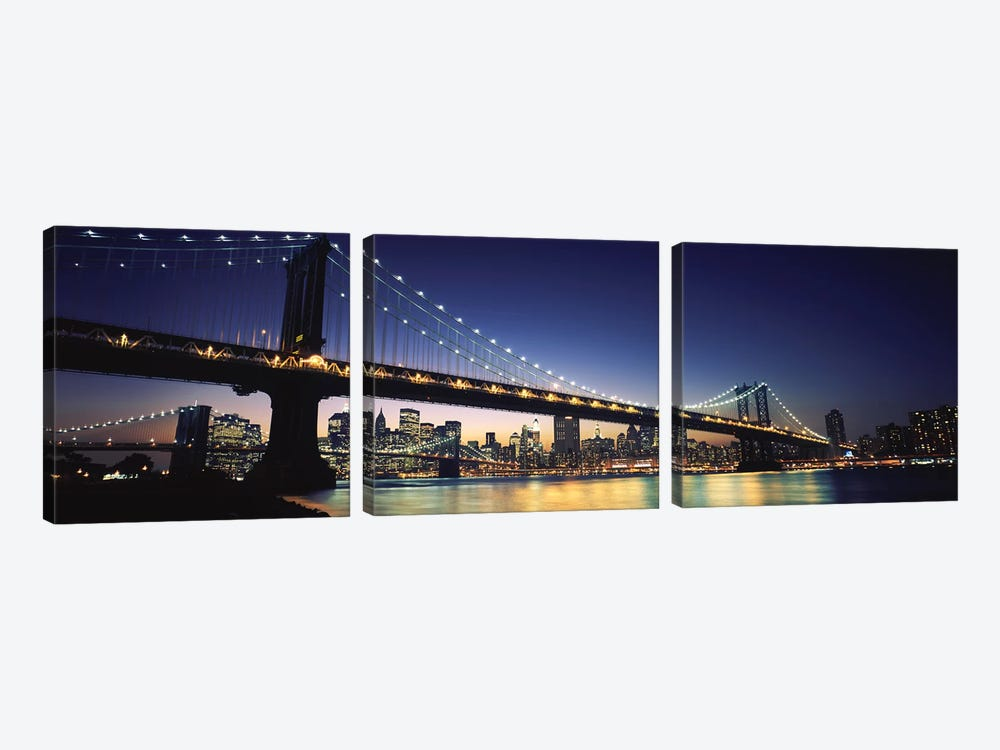 Bridge across the riverManhattan Bridge, Lower Manhattan, New York City, New York State, USA 3-piece Canvas Art Print