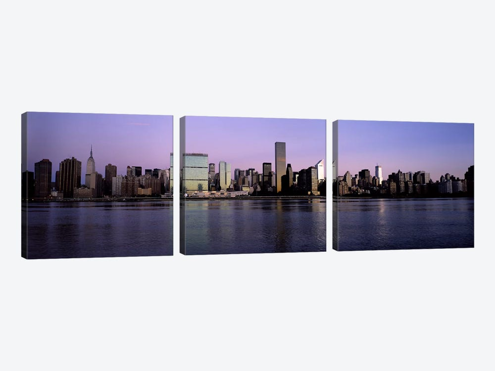 Midtown East Skyline At Dusk, Midtown, Manhattan, New York City, New York, USA by Panoramic Images 3-piece Canvas Artwork