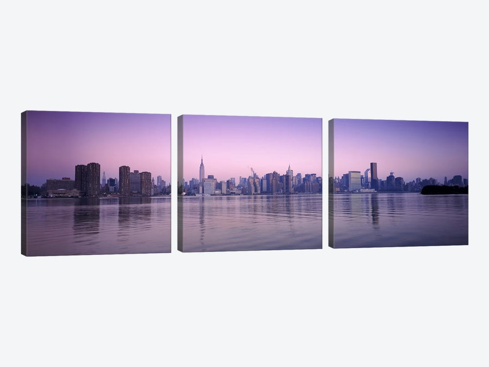 Buildings at the waterfront, viewed from QueensEmpire State Building, Midtown Manhattan, New York City, New York State, USA by Panoramic Images 3-piece Canvas Print