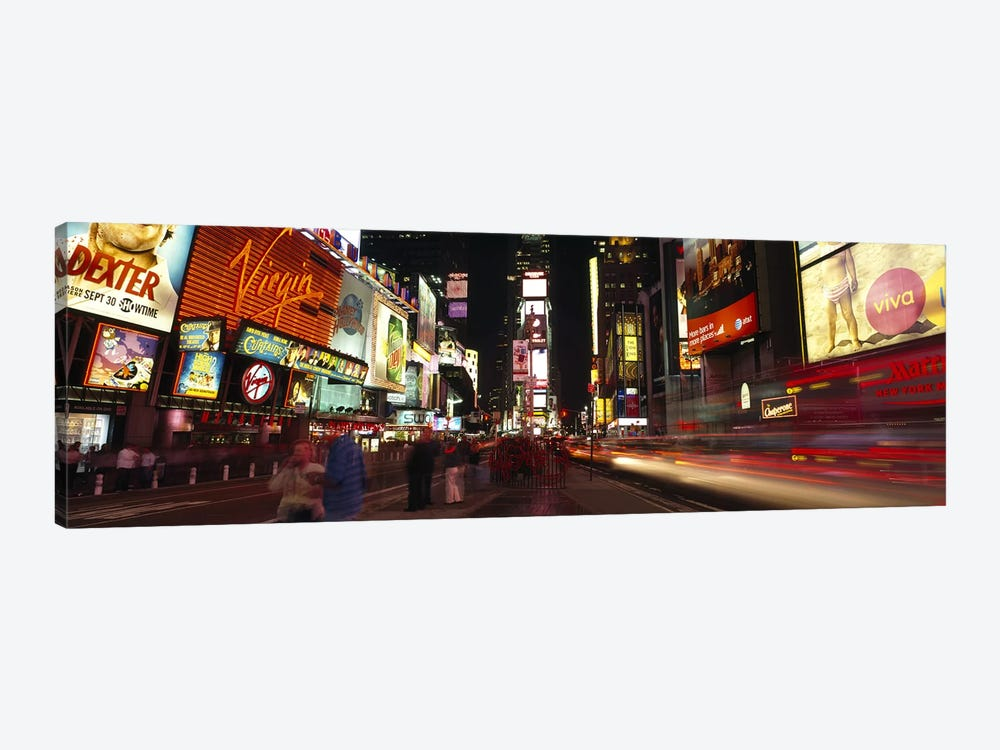 Blurred Motion View Of Nighttime Traffic Along 7th Avenue, Times Square, New York City, New York, USA by Panoramic Images 1-piece Canvas Print