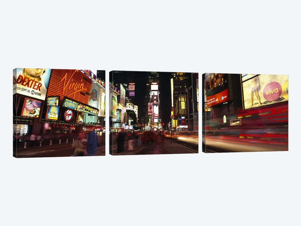 Blurred Motion View Of Nighttime Traffic Along 7th Avenue, Times Square, New York City, New York, USA by Panoramic Images 3-piece Art Print