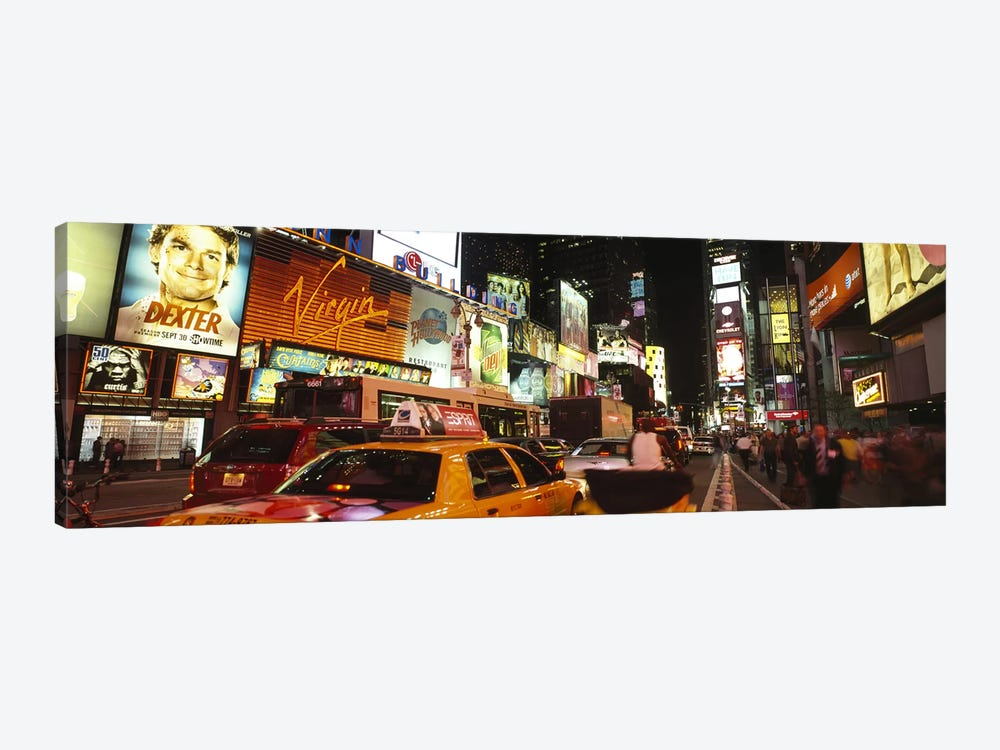 Buildings lit up at night in a cityBroadway, Times Square, Midtown Manhattan, Manhattan, New York City, New York State, USA by Panoramic Images 1-piece Canvas Art Print