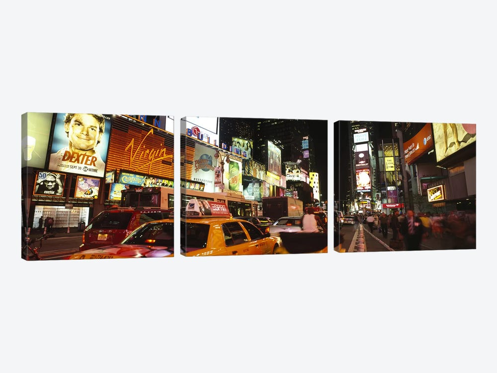 Buildings lit up at night in a cityBroadway, Times Square, Midtown Manhattan, Manhattan, New York City, New York State, USA by Panoramic Images 3-piece Canvas Print