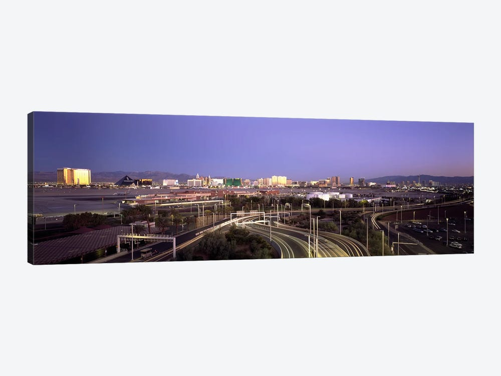 Roads in a city with an airport in the backgroundMcCarran International Airport, Las Vegas, Clark County, Nevada, USA by Panoramic Images 1-piece Canvas Art