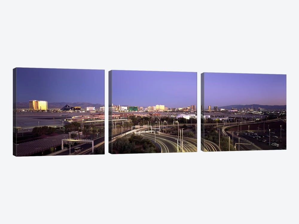 Roads in a city with an airport in the backgroundMcCarran International Airport, Las Vegas, Clark County, Nevada, USA by Panoramic Images 3-piece Canvas Wall Art