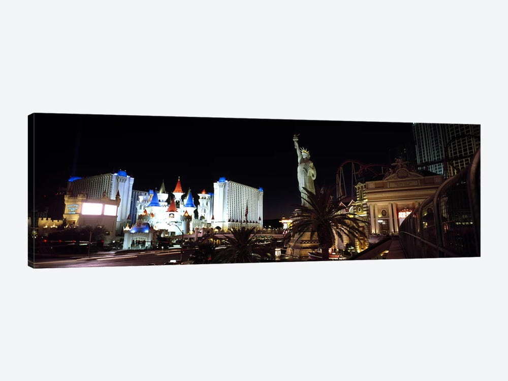 Statue in front of a hotelNew York New York Hotel, Excalibur Hotel & Casino, The Las Vegas Strip, Las Vegas, Nevada, USA by Panoramic Images 1-piece Canvas Print