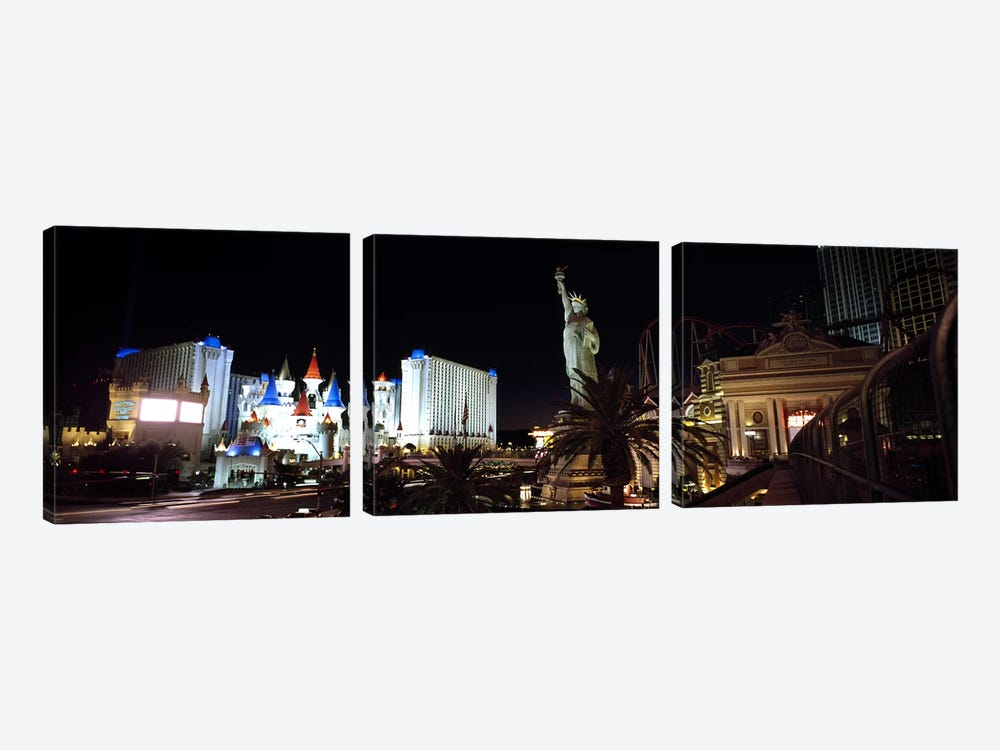 Statue in front of a hotelNew York New York Hotel, Excalibur Hotel & Casino, The Las Vegas Strip, Las Vegas, Nevada, USA by Panoramic Images 3-piece Canvas Print
